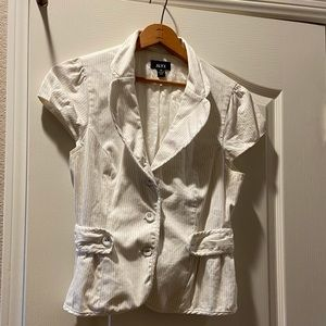 White short sleeve button up blazer
